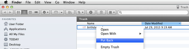 Screenshot: How to undelete Finder Files from Mac OSX Trash