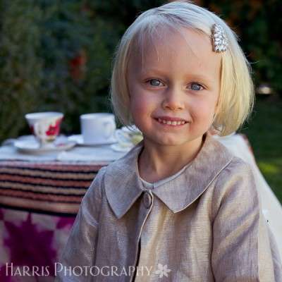 Little Girl Tea Party Themed Photoshoot Los Angeles with Hair Broach