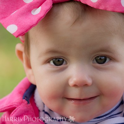 6 month old baby girl sitting photo session